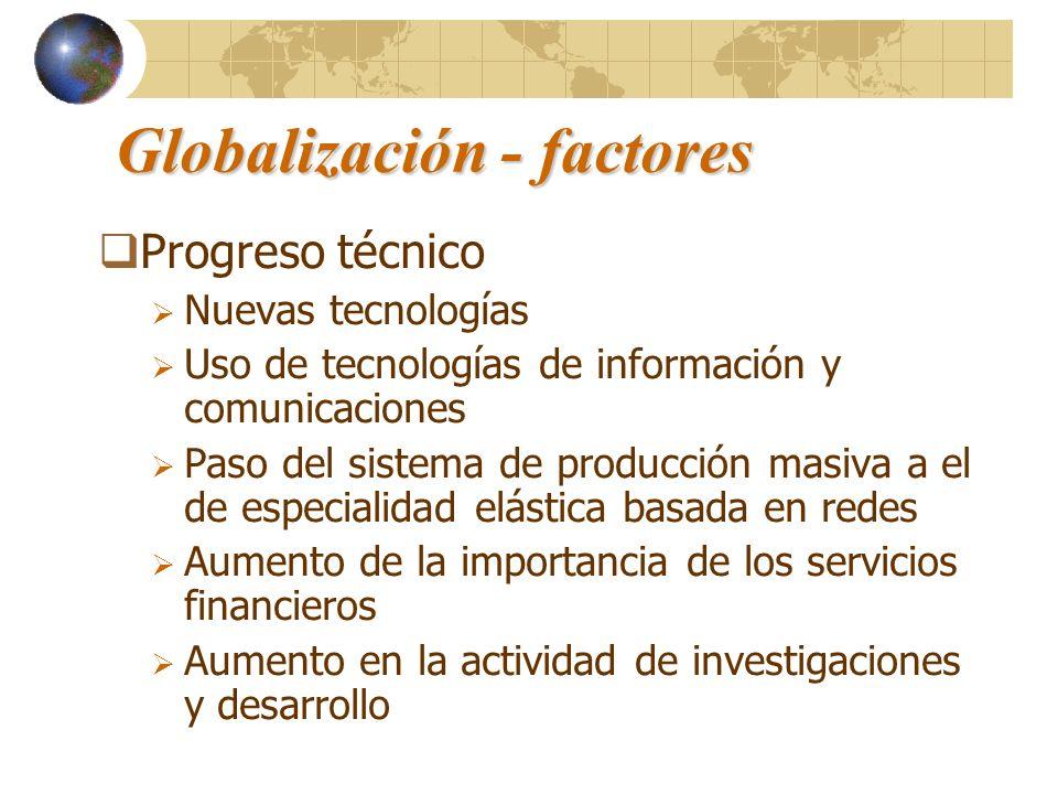 Globalización - factores Progreso técnico Nuevas tecnologías Uso de tecnologías de información y comunicaciones Paso del sistema de producción masiva
