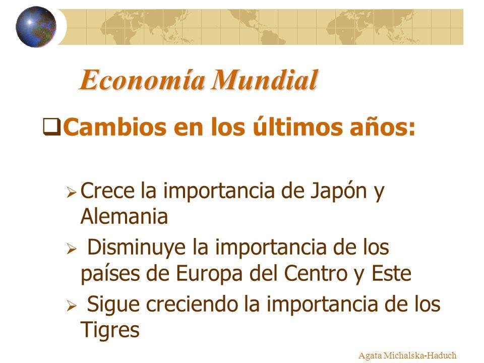 Agata Michalska-Haduch Economía Mundial Cambios en los últimos años: Crece la importancia de Japón y Alemania Disminuye la importancia de los países d
