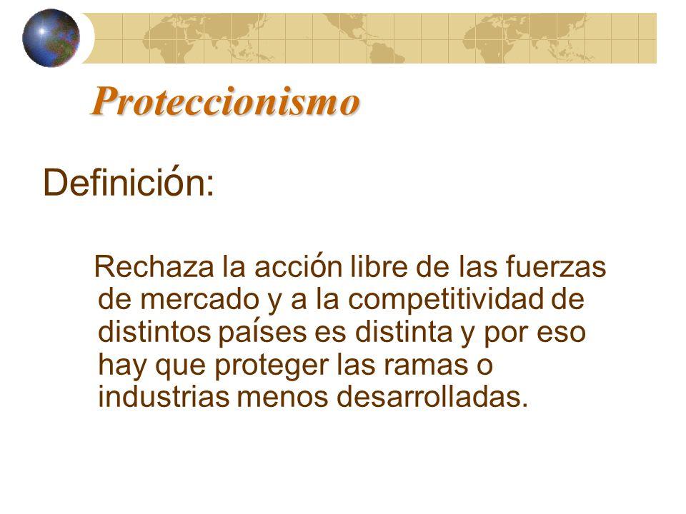Proteccionismo Definici ó n: Rechaza la acci ó n libre de las fuerzas de mercado y a la competitividad de distintos pa í ses es distinta y por eso hay
