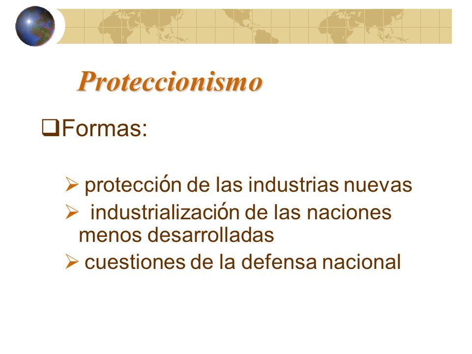 Proteccionismo Formas: protecci ó n de las industrias nuevas industrializaci ó n de las naciones menos desarrolladas cuestiones de la defensa nacional
