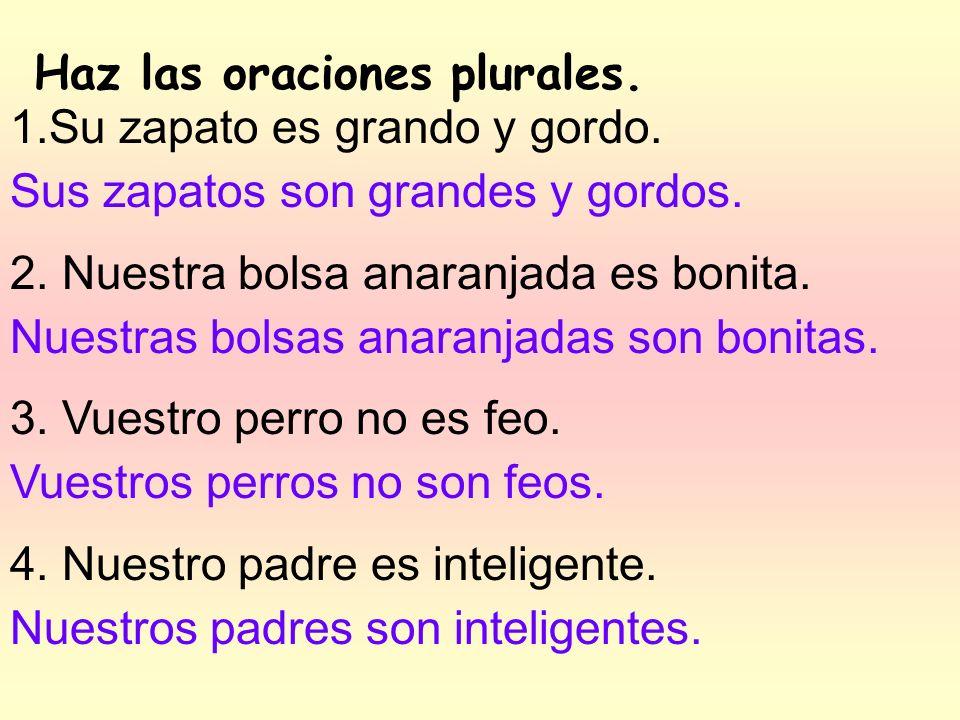 de Ramón de Felipe y Juan de vosotros de Pepe y mí Escribe el adjetivo posesivo correcto.