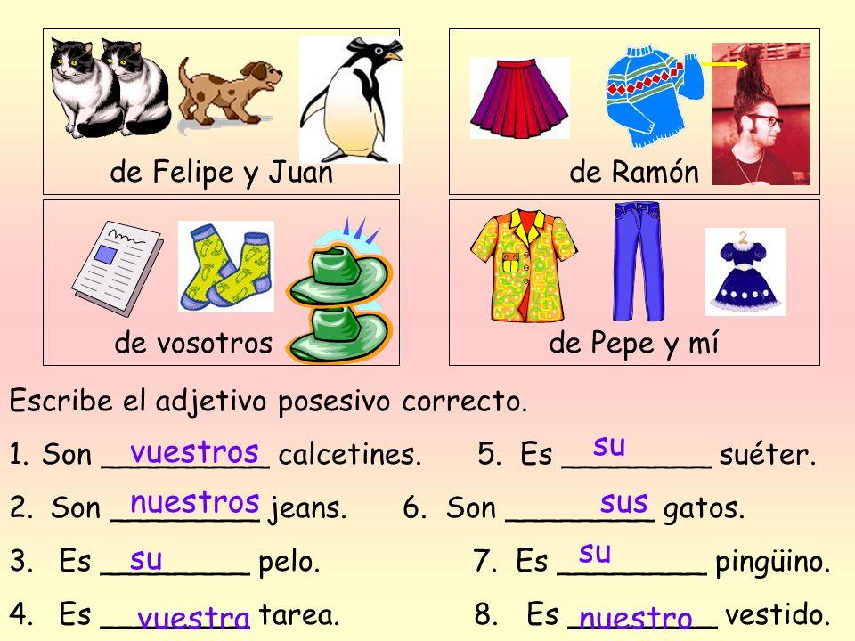 de Ramón de Felipe y Juan de vosotros de Pepe y mí Escribe el adjetivo posesivo correcto. 1.Son _________ calcetines. 5. Es ________ suéter. 2. Son __