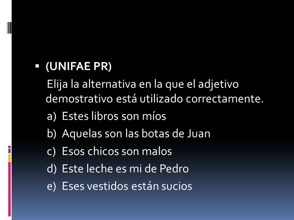 (UNIFAE PR) Elija la alternativa en la que el adjetivo demostrativo está utilizado correctamente. a)Estes libros son míos b)Aquelas son las botas de J