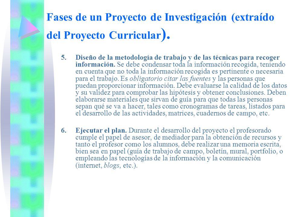 Fases de un Proyecto de Investigación (extraído del Proyecto Curricular ). 5. Diseño de la metodología de trabajo y de las técnicas para recoger infor