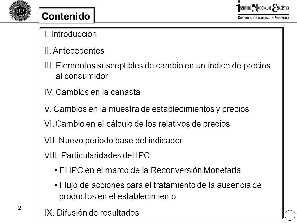 2 Contenido I. Introducción II. Antecedentes III. Elementos susceptibles de cambio en un índice de precios al consumidor IV. Cambios en la canasta V.