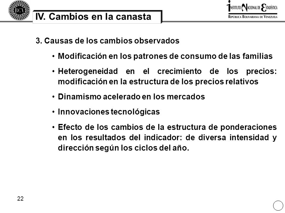 22 IV. Cambios en la canasta 3. Causas de los cambios observados Modificación en los patrones de consumo de las familias Heterogeneidad en el crecimie