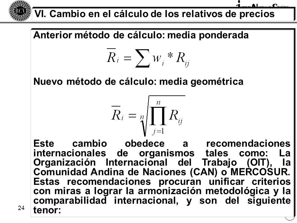 24 VI. Cambio en el cálculo de los relativos de precios Anterior método de cálculo: media ponderada Nuevo método de cálculo: media geométrica Este cam
