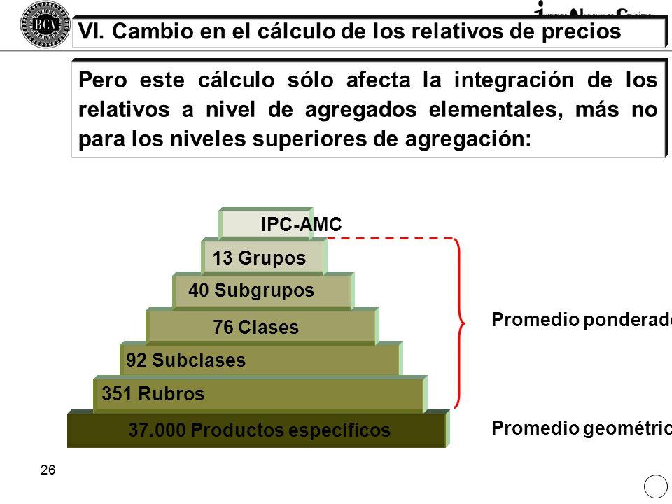 26 Pero este cálculo sólo afecta la integración de los relativos a nivel de agregados elementales, más no para los niveles superiores de agregación: V