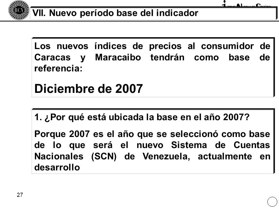 27 Los nuevos índices de precios al consumidor de Caracas y Maracaibo tendrán como base de referencia: Diciembre de 2007 VII. Nuevo período base del i