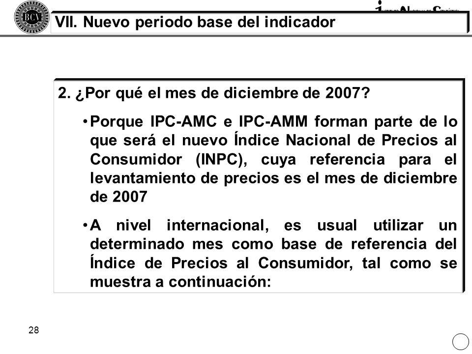 28 VII. Nuevo periodo base del indicador 2. ¿Por qué el mes de diciembre de 2007? Porque IPC-AMC e IPC-AMM forman parte de lo que será el nuevo Índice