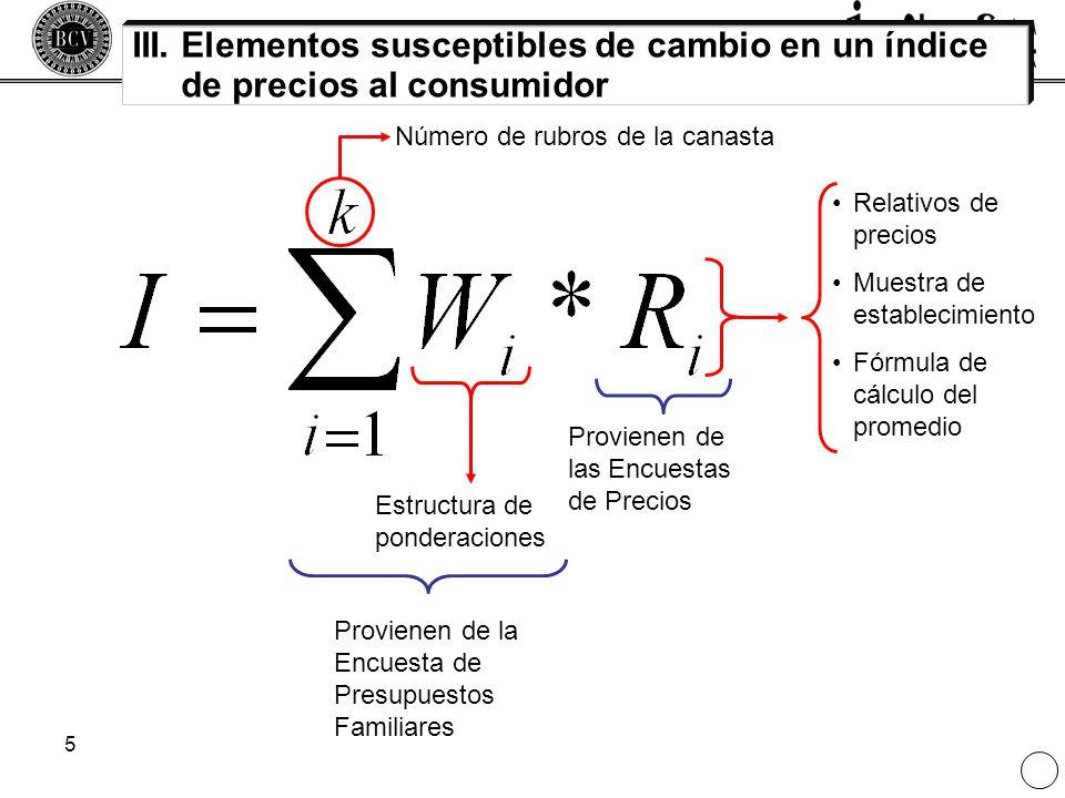 5 III. Elementos susceptibles de cambio en un índice de precios al consumidor Estructura de ponderaciones Número de rubros de la canasta Relativos de