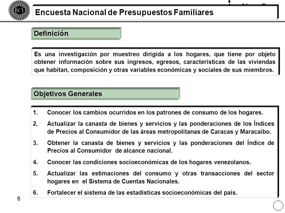6 Definición Es una investigación por muestreo dirigida a los hogares, que tiene por objeto obtener información sobre sus ingresos, egresos, caracterí