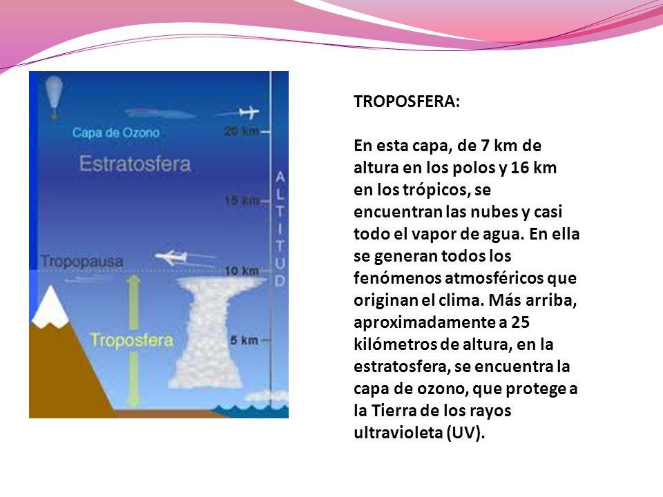 TROPOSFERA: En esta capa, de 7 km de altura en los polos y 16 km en los trópicos, se encuentran las nubes y casi todo el vapor de agua. En ella se gen