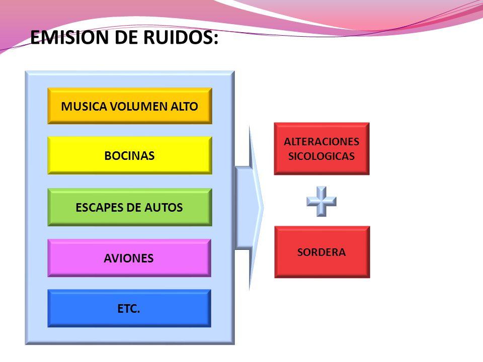 ALTERACIONES SICOLOGICAS BOCINAS AVIONES ESCAPES DE AUTOS MUSICA VOLUMEN ALTO EMISION DE RUIDOS: ETC. SORDERA
