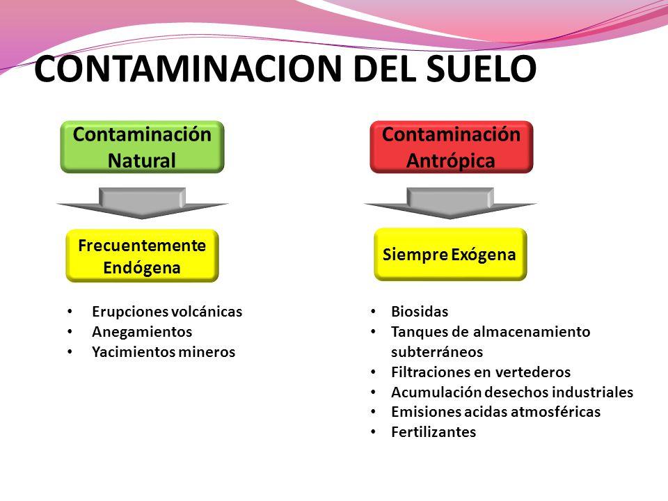 CONTAMINACION DEL SUELO Contaminación Natural Contaminación Antrópica Frecuentemente Endógena Siempre Exógena Biosidas Tanques de almacenamiento subte