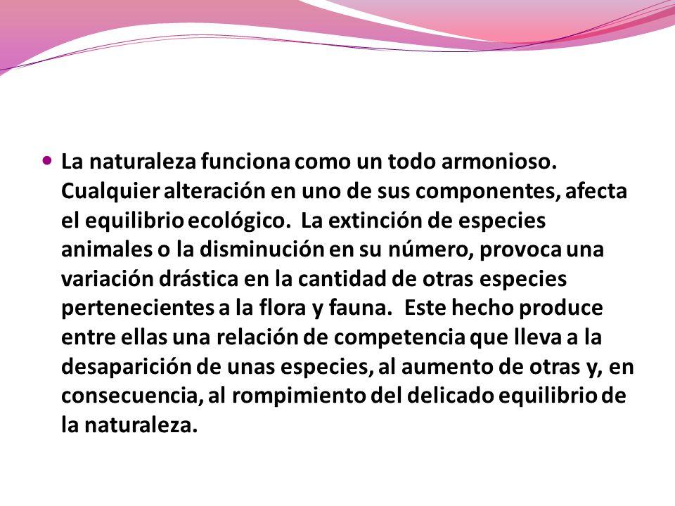 La naturaleza funciona como un todo armonioso. Cualquier alteración en uno de sus componentes, afecta el equilibrio ecológico. La extinción de especie