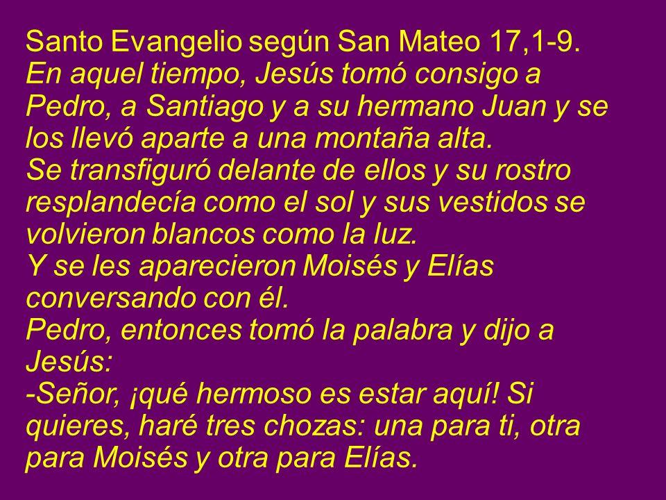 Santo Evangelio según San Mateo 17,1-9. En aquel tiempo, Jesús tomó consigo a Pedro, a Santiago y a su hermano Juan y se los llevó aparte a una montañ