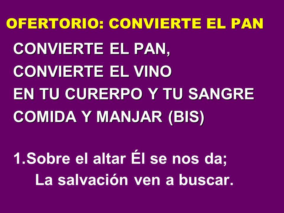 OFERTORIO: CONVIERTE EL PAN CONVIERTE EL PAN, CONVIERTE EL VINO EN TU CURERPO Y TU SANGRE COMIDA Y MANJAR (BIS) 1.Sobre el altar Él se nos da; La salv