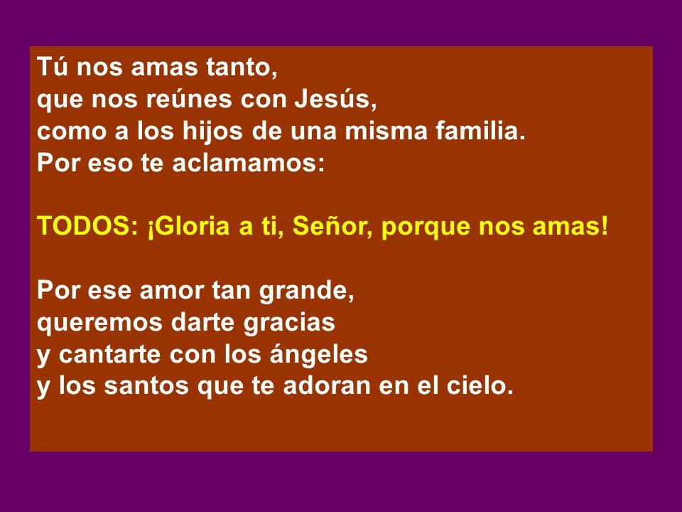 Tú nos amas tanto, que nos reúnes con Jesús, como a los hijos de una misma familia. Por eso te aclamamos: TODOS: ¡Gloria a ti, Señor, porque nos amas!