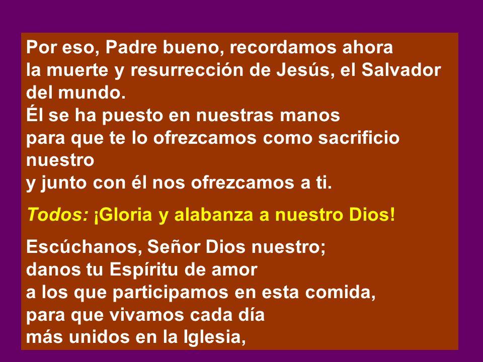 Por eso, Padre bueno, recordamos ahora la muerte y resurrección de Jesús, el Salvador del mundo. Él se ha puesto en nuestras manos para que te lo ofre