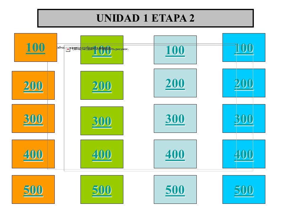 100 200 400 300 400 UNIDAD 1 ETAPA 2 300 200 400 200 100 500 100