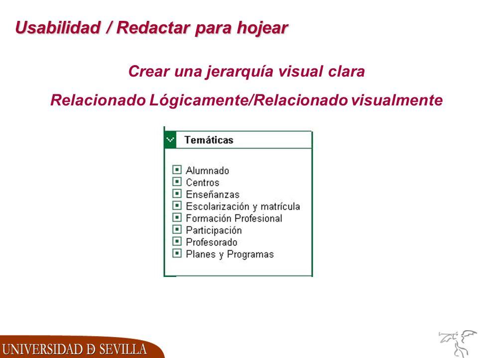 Usabilidad / Redactar para hojear Crear una jerarquía visual clara Relacionado Lógicamente/Relacionado visualmente