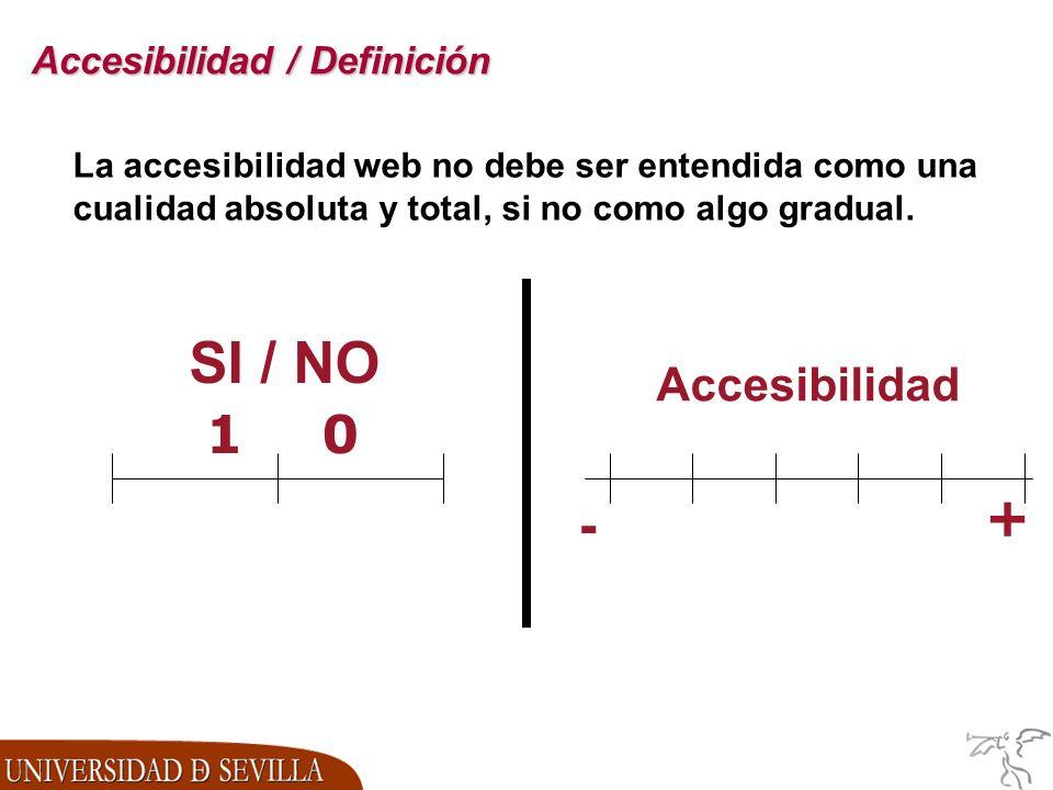 Accesibilidad / Definición La accesibilidad web no debe ser entendida como una cualidad absoluta y total, si no como algo gradual.