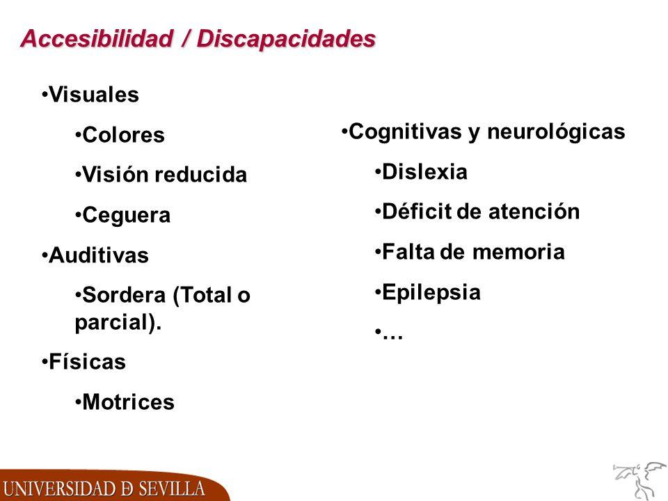 Accesibilidad / Discapacidades Visuales Colores Visión reducida Ceguera Auditivas Sordera (Total o parcial).
