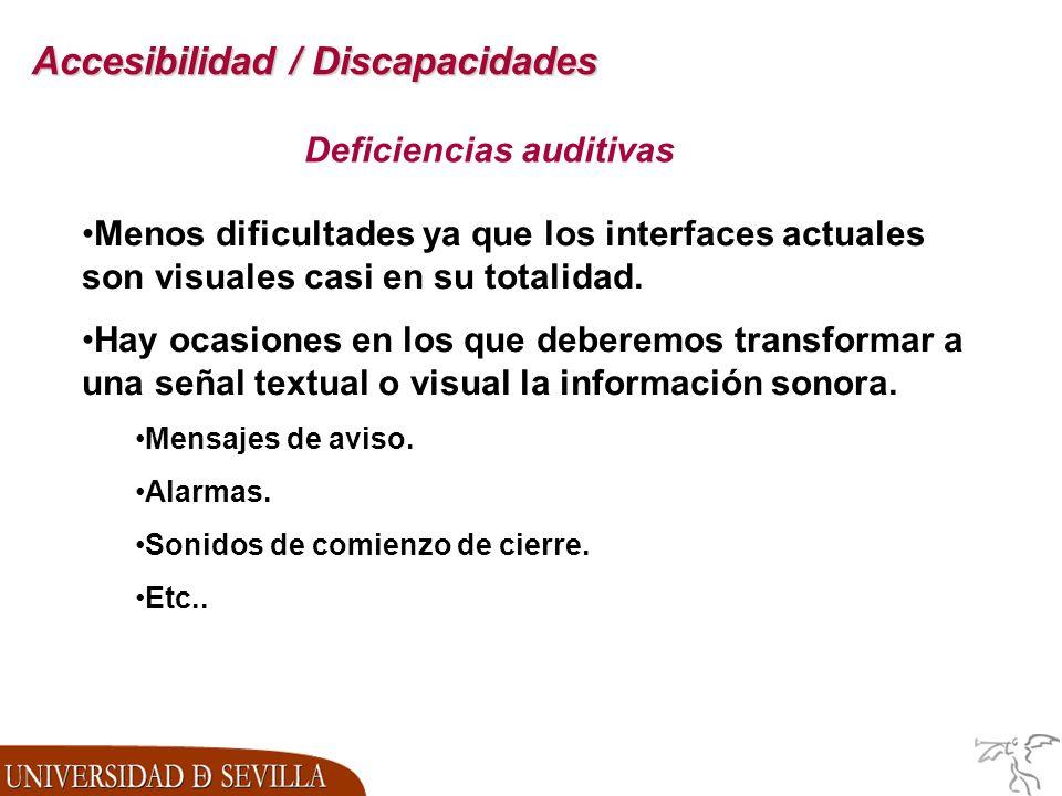Accesibilidad / Discapacidades Deficiencias auditivas Menos dificultades ya que los interfaces actuales son visuales casi en su totalidad.