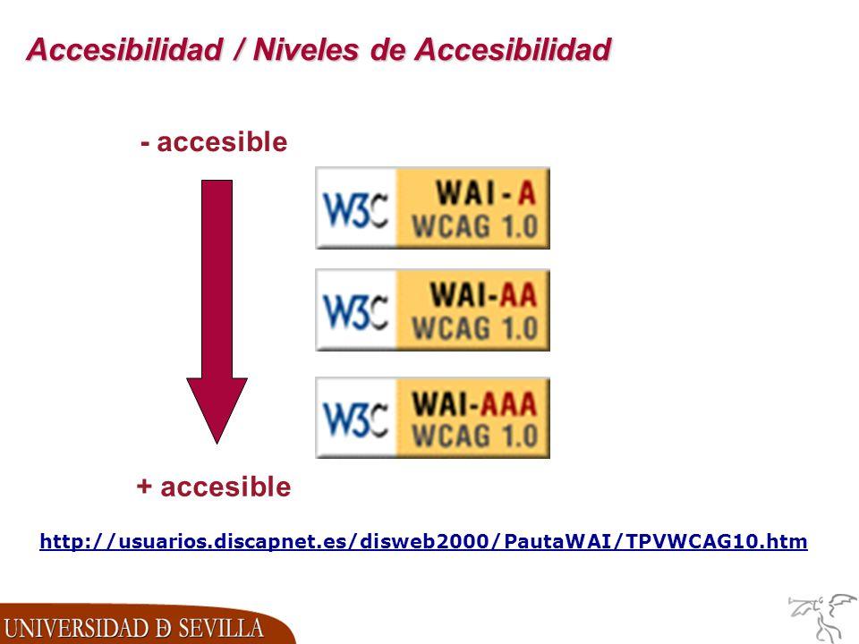 Accesibilidad / Niveles de Accesibilidad - accesible + accesible http://usuarios.discapnet.es/disweb2000/PautaWAI/TPVWCAG10.htm