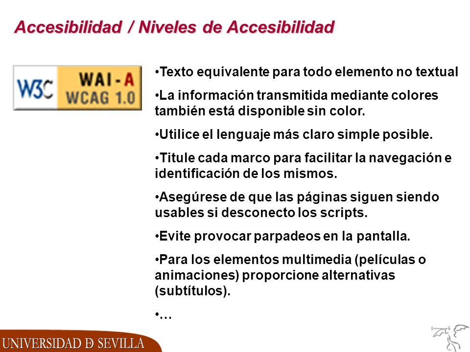 Accesibilidad / Niveles de Accesibilidad Texto equivalente para todo elemento no textual La información transmitida mediante colores también está disponible sin color.