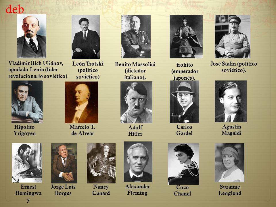 Vladímir Ilich Uliánov, apodado Lenin (líder revolucionario soviético) León Trotski (político soviético) Benito Mussolini (dictador italiano). irohito