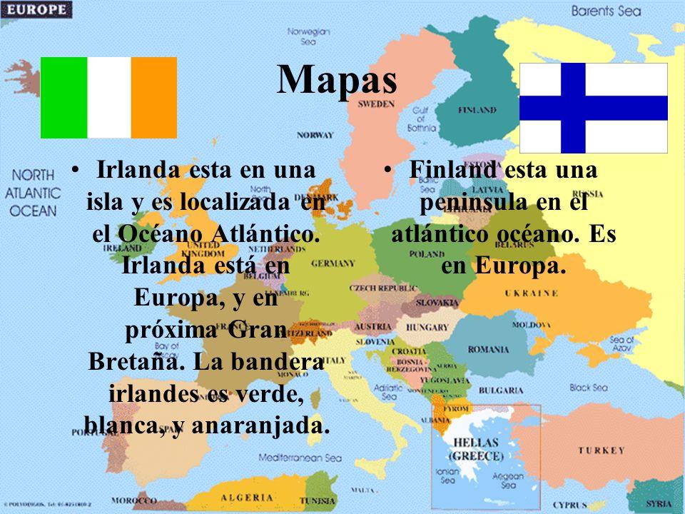 Mapas Irlanda esta en una isla y es localizada en el Océano Atlántico.