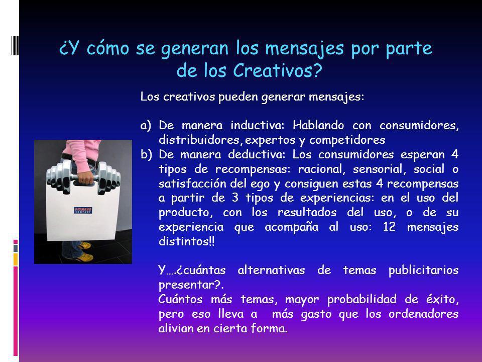 ¿Y cómo se generan los mensajes por parte de los Creativos? Los creativos pueden generar mensajes: a)De manera inductiva: Hablando con consumidores, d