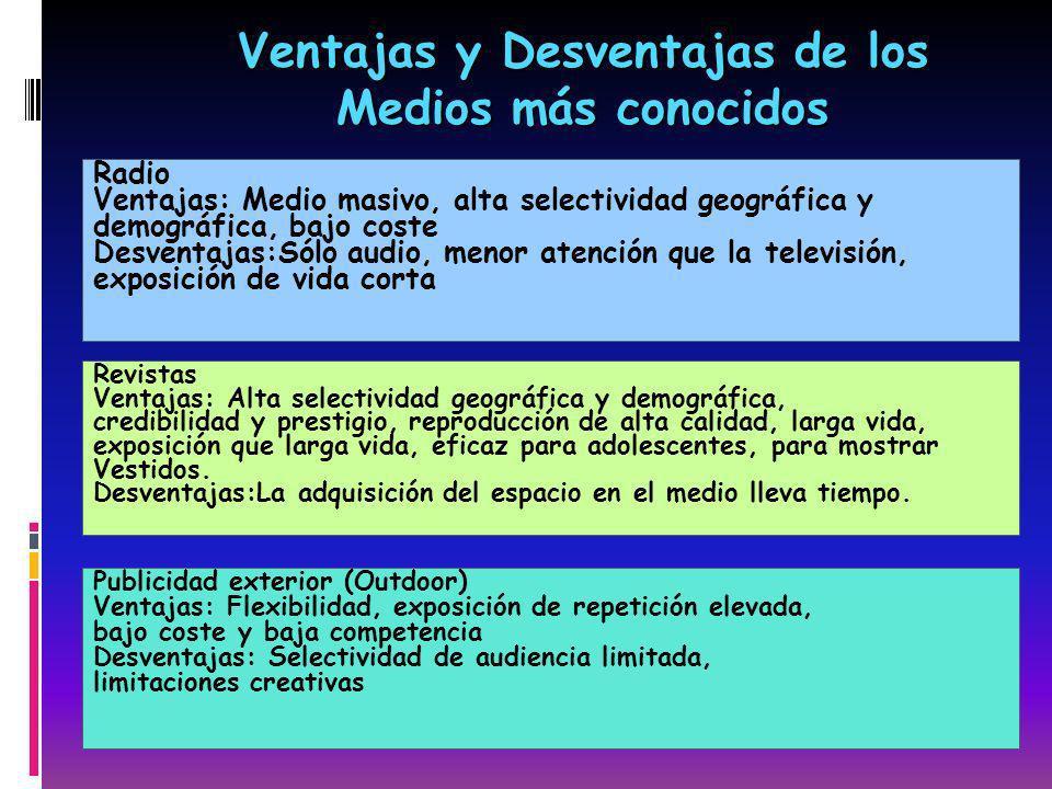 Radio Ventajas: Medio masivo, alta selectividad geográfica y demográfica, bajo coste Desventajas:Sólo audio, menor atención que la televisión, exposic