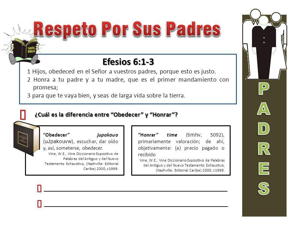 Efesios 6:1-3 1 Hijos, obedeced en el Señor a vuestros padres, porque esto es justo. 2 Honra a tu padre y a tu madre, que es el primer mandamiento con