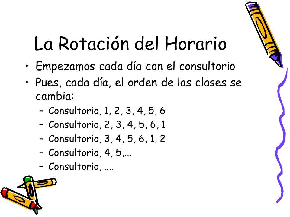 La Rotación del Horario Empezamos cada día con el consultorio Pues, cada día, el orden de las clases se cambia: –Consultorio, 1, 2, 3, 4, 5, 6 –Consultorio, 2, 3, 4, 5, 6, 1 –Consultorio, 3, 4, 5, 6, 1, 2 –Consultorio, 4, 5,...