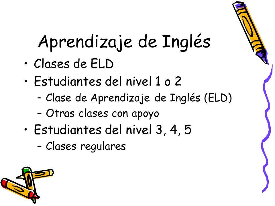 Aprendizaje de Inglés Clases de ELD Estudiantes del nivel 1 o 2 –Clase de Aprendizaje de Inglés (ELD) –Otras clases con apoyo Estudiantes del nivel 3, 4, 5 –Clases regulares
