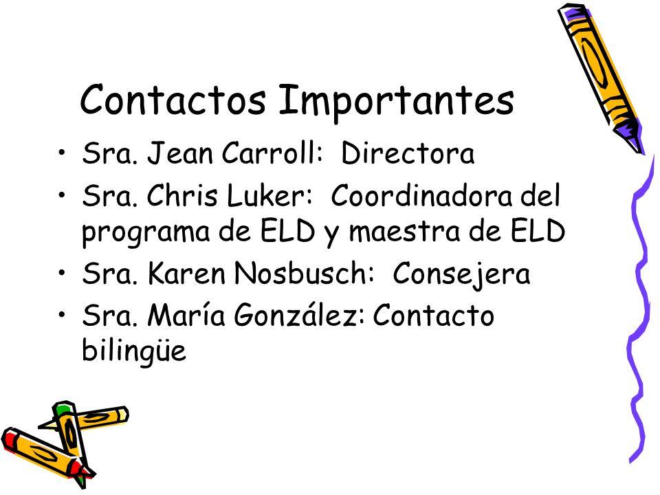 Contactos Importantes Sra. Jean Carroll: Directora Sra.