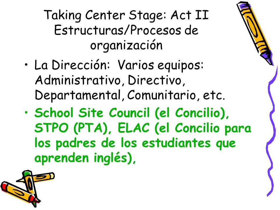Taking Center Stage: Act II Estructuras/Procesos de organización La Dirección: Varios equipos: Administrativo, Directivo, Departamental, Comunitario, etc.