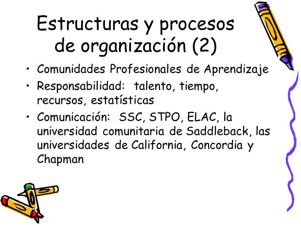 Estructuras y procesos de organización (2) Comunidades Profesionales de Aprendizaje Responsabilidad: talento, tiempo, recursos, estatísticas Comunicación: SSC, STPO, ELAC, la universidad comunitaria de Saddleback, las universidades de California, Concordia y Chapman