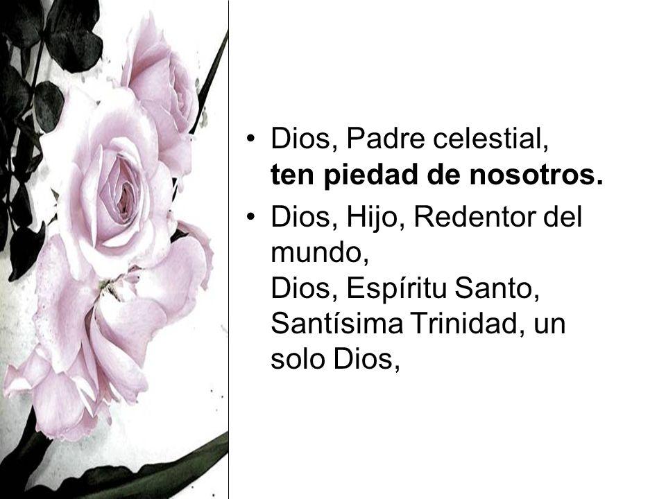 Dios, Padre celestial, ten piedad de nosotros. Dios, Hijo, Redentor del mundo, Dios, Espíritu Santo, Santísima Trinidad, un solo Dios,