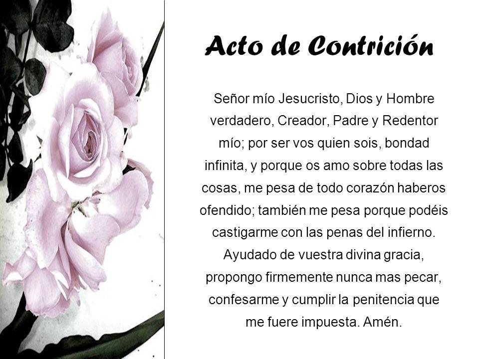 Acto de Contrición Señor mío Jesucristo, Dios y Hombre verdadero, Creador, Padre y Redentor mío; por ser vos quien sois, bondad infinita, y porque os