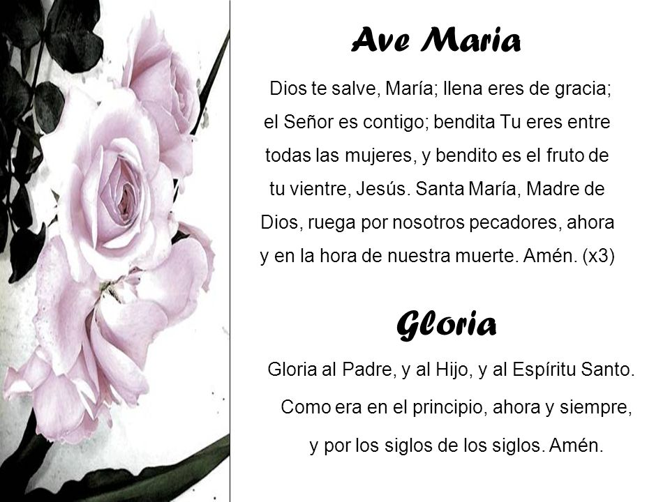 Ave Maria Dios te salve, María; llena eres de gracia; el Señor es contigo; bendita Tu eres entre todas las mujeres, y bendito es el fruto de tu vientr