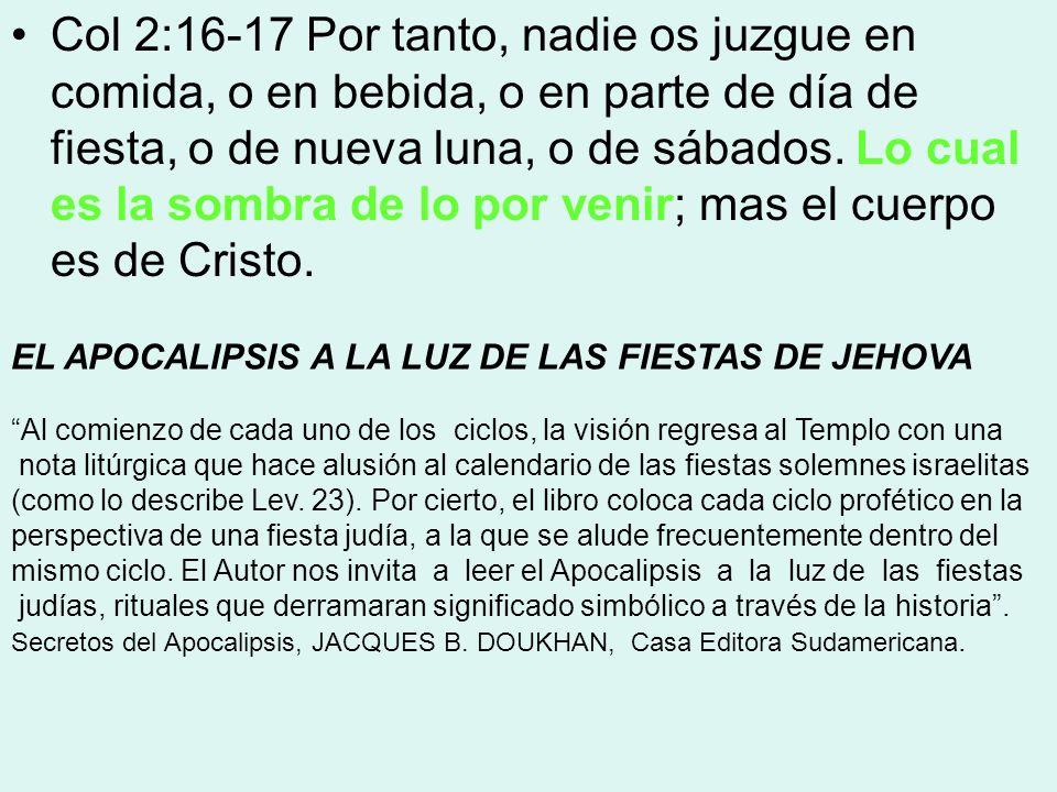 Col 2:16-17 Por tanto, nadie os juzgue en comida, o en bebida, o en parte de día de fiesta, o de nueva luna, o de sábados. Lo cual es la sombra de lo