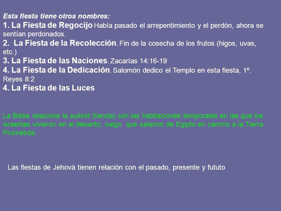 LA FIESTA DE LOS TABERNQCULOS SUKKOT HAY TRES SIMBOLOS CLAVES : CABAÑAS LUZ AGUA 8 días de fiesta 1 2 3 4 5 6 7 8 Ultimo día fiesta del AGUA Juan 7: 37-39 El último día de La gran fiesta, … Isaías 12: 1-6 En el altar se vertía Vino y agua Juan 19: 33,34 HOLOCAUTOS EN LA SEMANA 70 Toros 14 Carneros 96 Corderos 7 Machos cabrios Total 187 sacrificios Alabanza y oración del pueblo Hosanna Dios nos salva Con gozo sacaéis aguas de las fuentes de salvación
