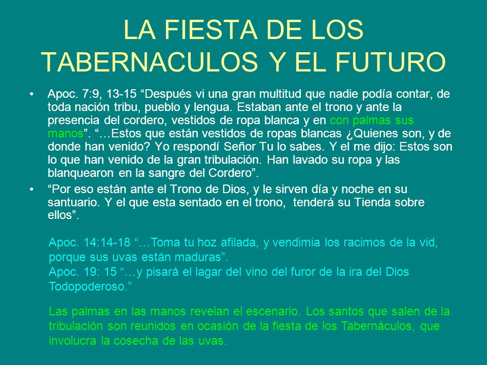 APLICACION La fiesta de los tabernáculos será la conmemoración del éxodo masivo de todos los hijos de Dios que estén vivos cuando Jesús venga.