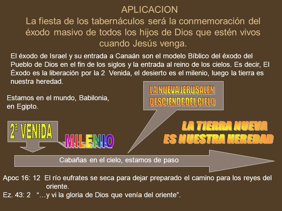 APLICACION La fiesta de los tabernáculos será la conmemoración del éxodo masivo de todos los hijos de Dios que estén vivos cuando Jesús venga. El éxod