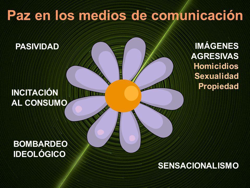 Paz en los medios de comunicación PASIVIDAD BOMBARDEO IDEOLÓGICO IMÁGENES AGRESIVAS Homicidios Sexualidad Propiedad INCITACIÓN AL CONSUMO SENSACIONALI