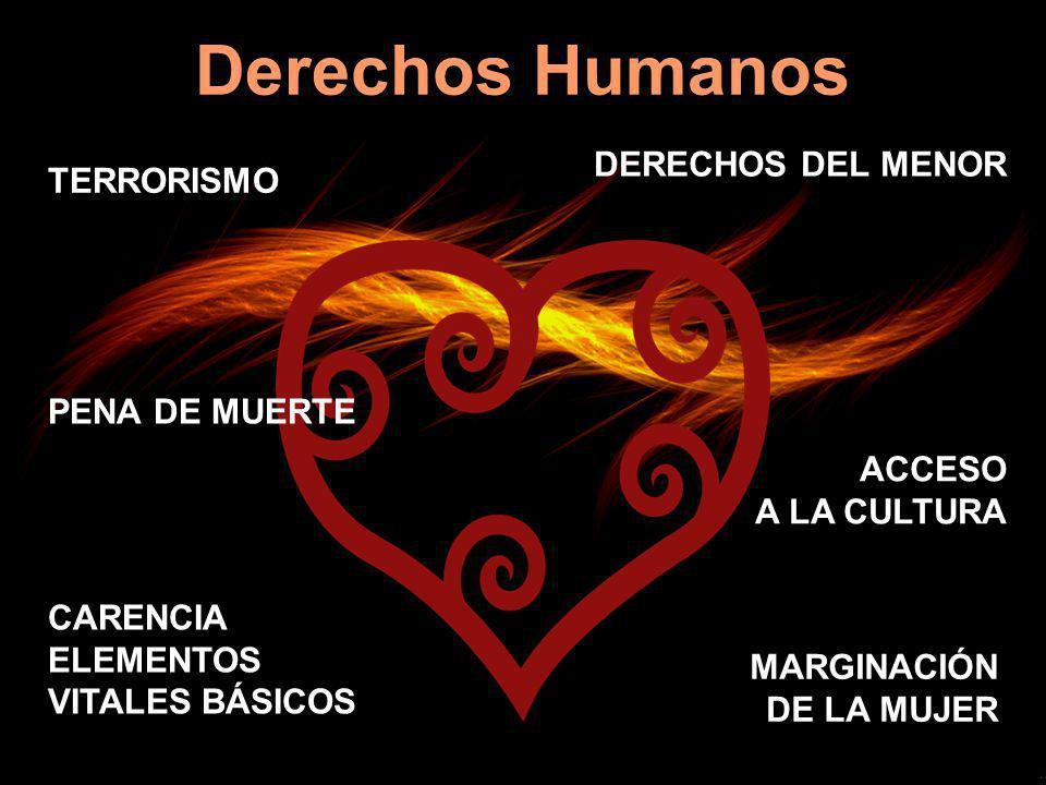 Derechos Humanos TERRORISMO DERECHOS DEL MENOR ACCESO A LA CULTURA CARENCIA ELEMENTOS VITALES BÁSICOS MARGINACIÓN DE LA MUJER PENA DE MUERTE